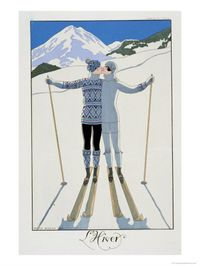 George Barbier 101989~Winter-Lovers-in-the-Snow-Fashion-Plate-from-Twentieth-Century-France-1925-Posters