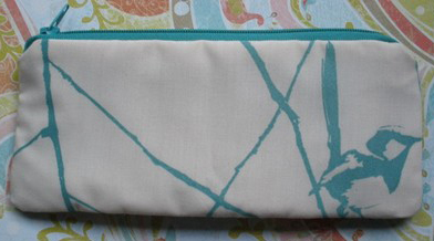 Blue Wrens Patchwork Pouch