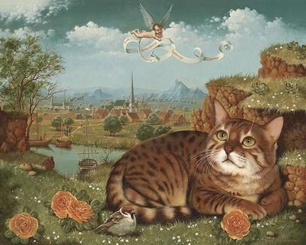 Cat with cherub movchanart