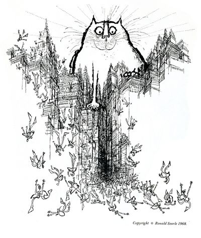 Ronald Searle The coming of the great cat God