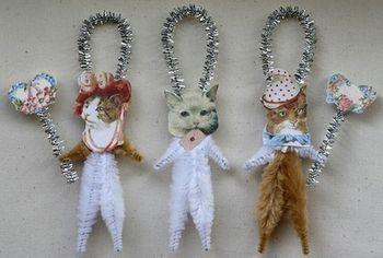Romantic Chenille Cat ornaments