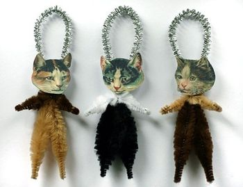 Victorian Calico Cat Chenille Ornaments