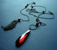 Deco merlot-wine cubic zirconia flapper necklace