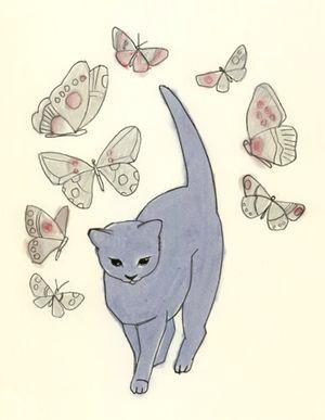 Magic blue kitten Matou en Peluche
