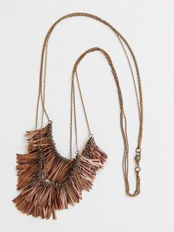 Vintage copper fringe necklace