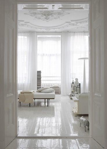 White floors apartment therapy