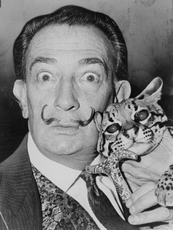 Salvador Dali with his pet ocelot - Babou