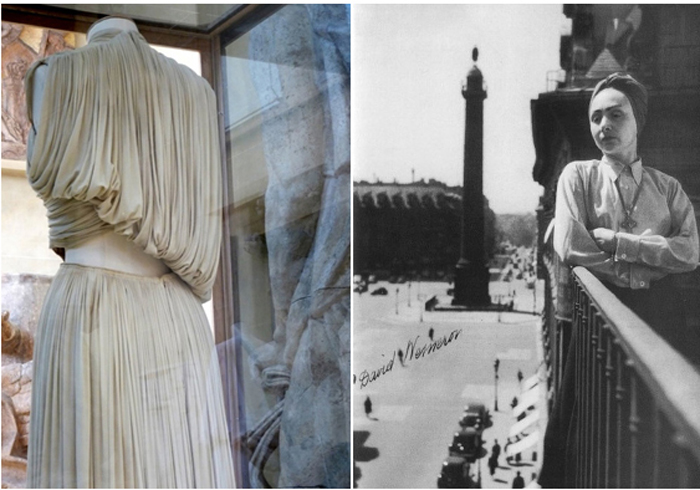 A Madame Grès pleated dress and designer Germaine Emilie Krebs