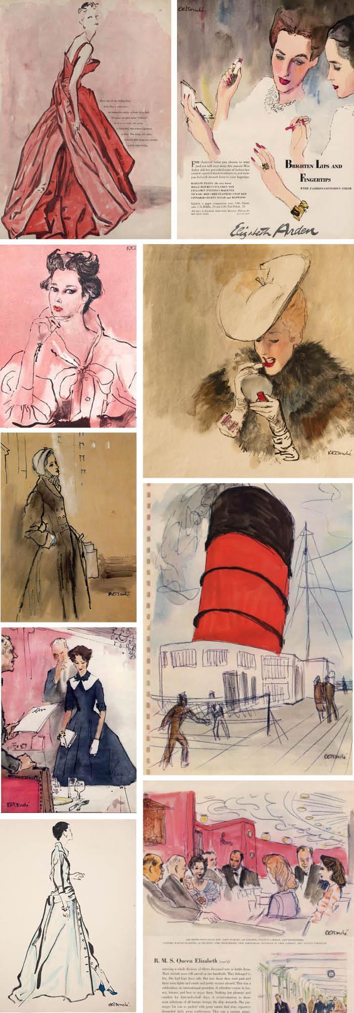 René Robert Bouché fashion illustrations