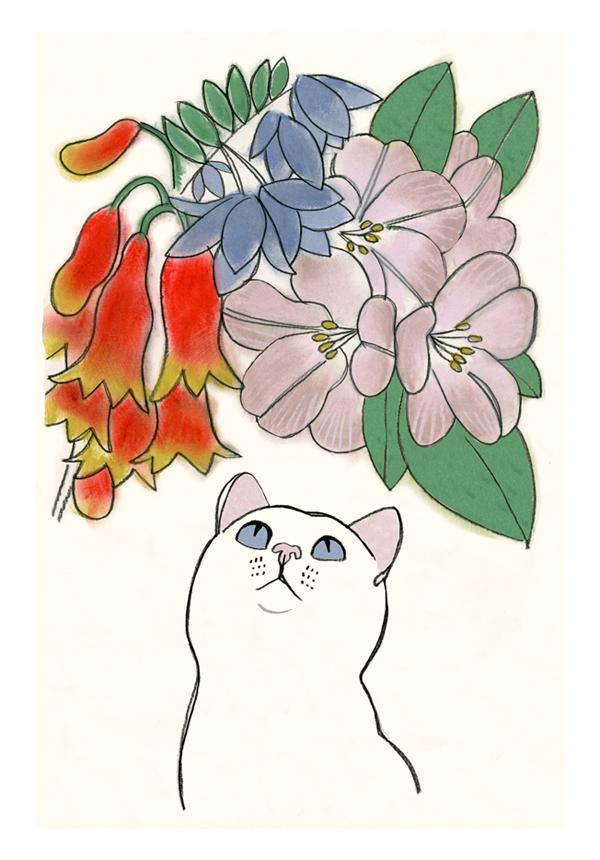 Matou_en_Peluche_White Cat flowers