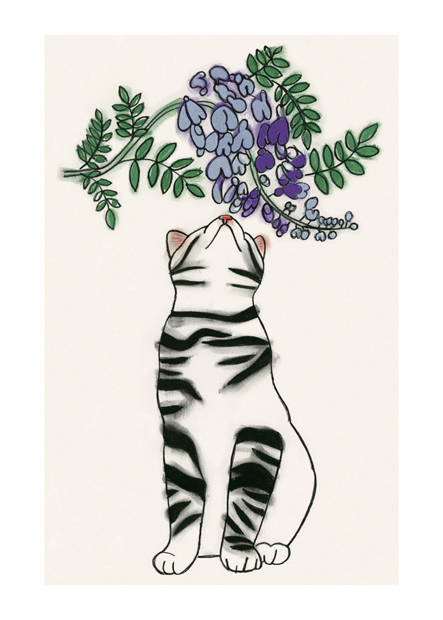Etsy - Tiger smells a wisteria-blue